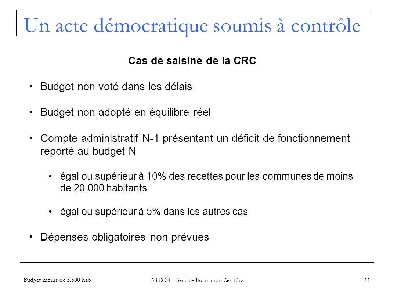 11 Cas de saisine de la CRC Budget non voté dans les délais Budget non adopté en équilibre réel Compte administratif N-1 présentant un déficit de fonc