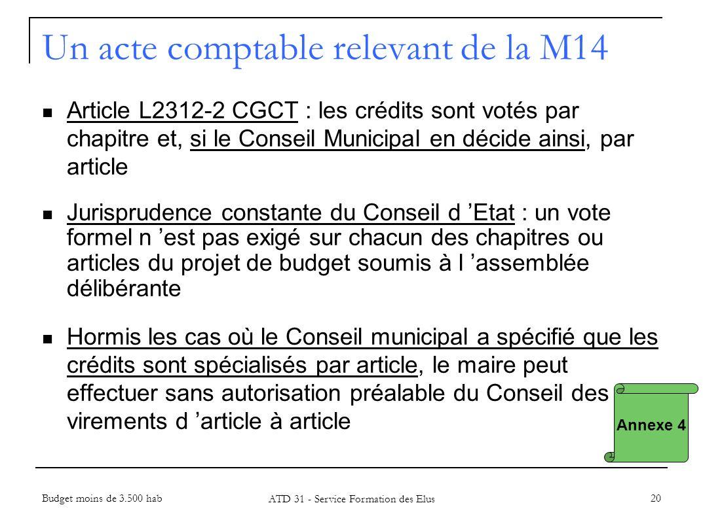 20 Annexe 4 Un acte comptable relevant de la M14 Article L2312-2 CGCT : les crédits sont votés par chapitre et, si le Conseil Municipal en décide ains