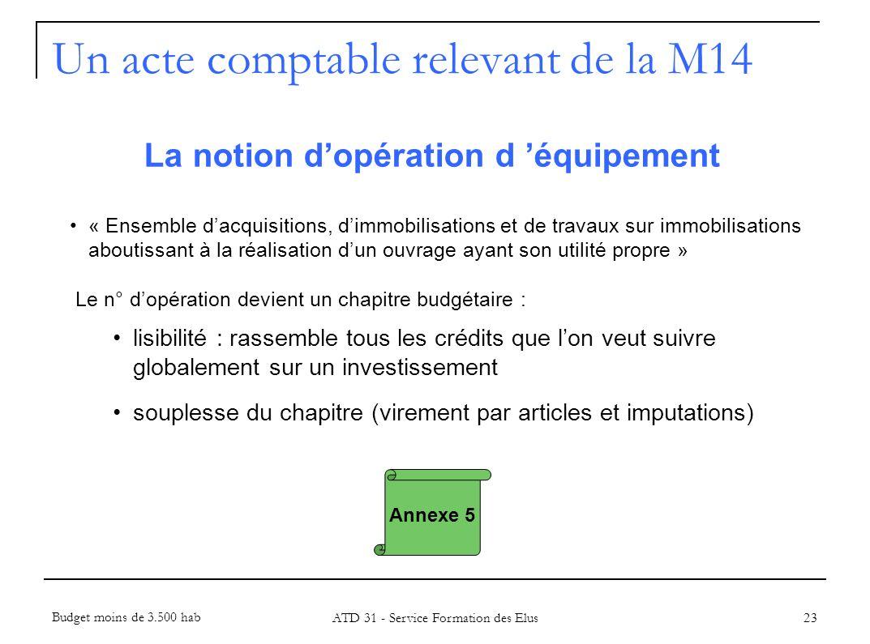 23 La notion dopération d équipement « Ensemble dacquisitions, dimmobilisations et de travaux sur immobilisations aboutissant à la réalisation dun ouv