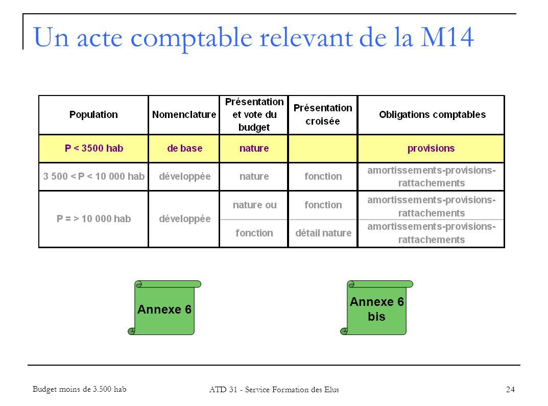 24 Annexe 6 Un acte comptable relevant de la M14 Budget moins de 3.500 hab ATD 31 - Service Formation des Elus Annexe 6 bis