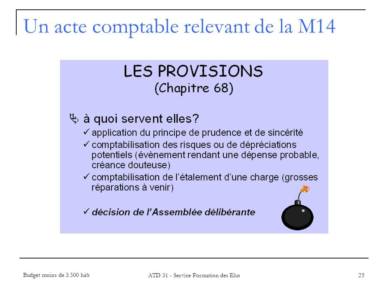 25 Un acte comptable relevant de la M14 Budget moins de 3.500 hab ATD 31 - Service Formation des Elus