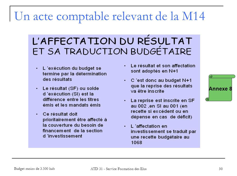 30 Annexe 8 Un acte comptable relevant de la M14 Budget moins de 3.500 hab ATD 31 - Service Formation des Elus