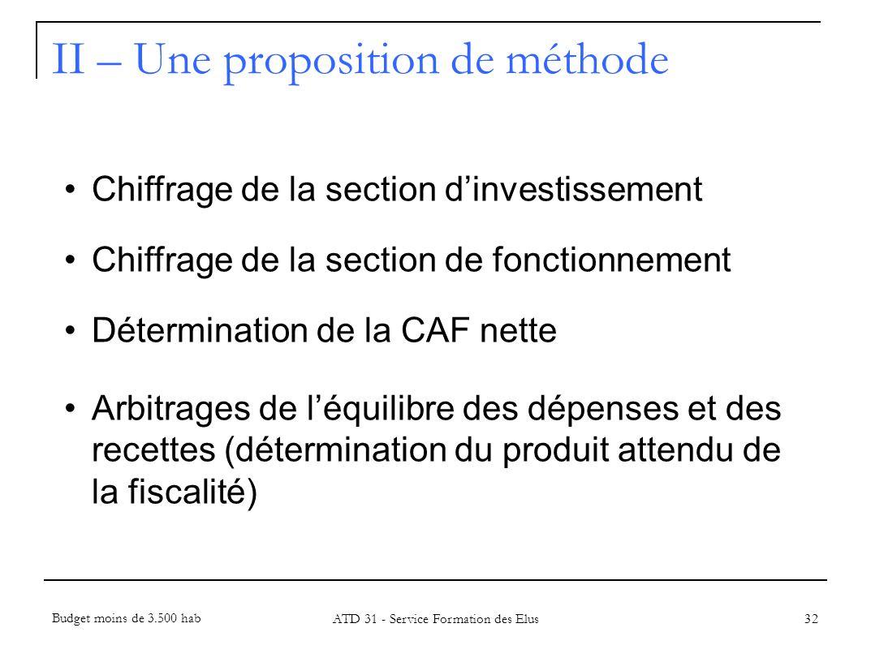 32 Chiffrage de la section dinvestissement Chiffrage de la section de fonctionnement Détermination de la CAF nette Arbitrages de léquilibre des dépens