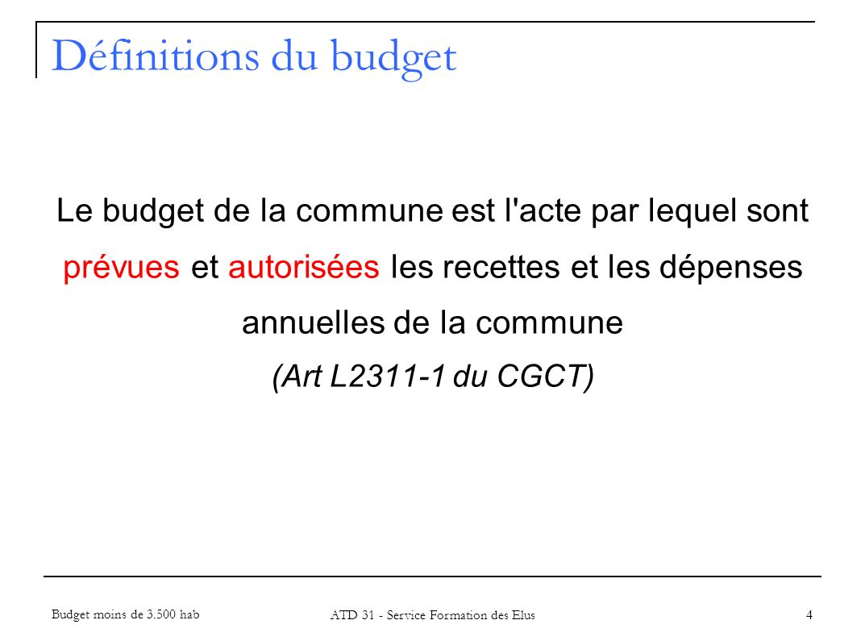 Définitions du budget 5 Autorisation limitative des dépenses et évaluative des recettes La présentation comptable de toutes les ressources et charges pour lannée à venir, avec pour objectif leur adéquation Budget moins de 3.500 hab ATD 31 - Service Formation des Elus