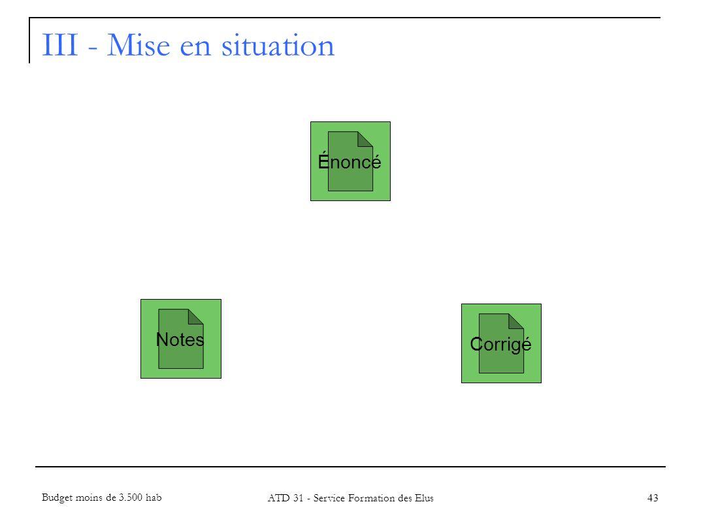 III - Mise en situation 43 Énoncé Notes Corrigé Budget moins de 3.500 hab ATD 31 - Service Formation des Elus