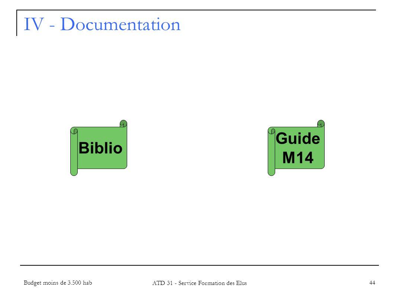 IV - Documentation 44 Biblio Budget moins de 3.500 hab ATD 31 - Service Formation des Elus Guide M14