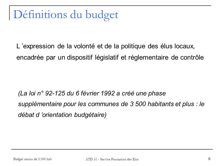 37 Chiffrage de la section de fonctionnement Budget moins de 3.500 hab ATD 31 - Service Formation des Elus