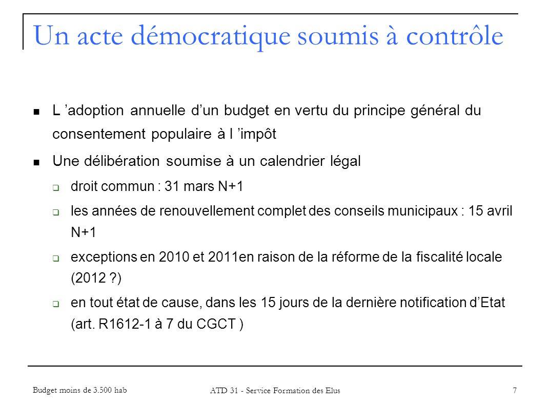 28 Annexe 7 Un acte comptable relevant de la M14 Budget moins de 3.500 hab ATD 31 - Service Formation des Elus