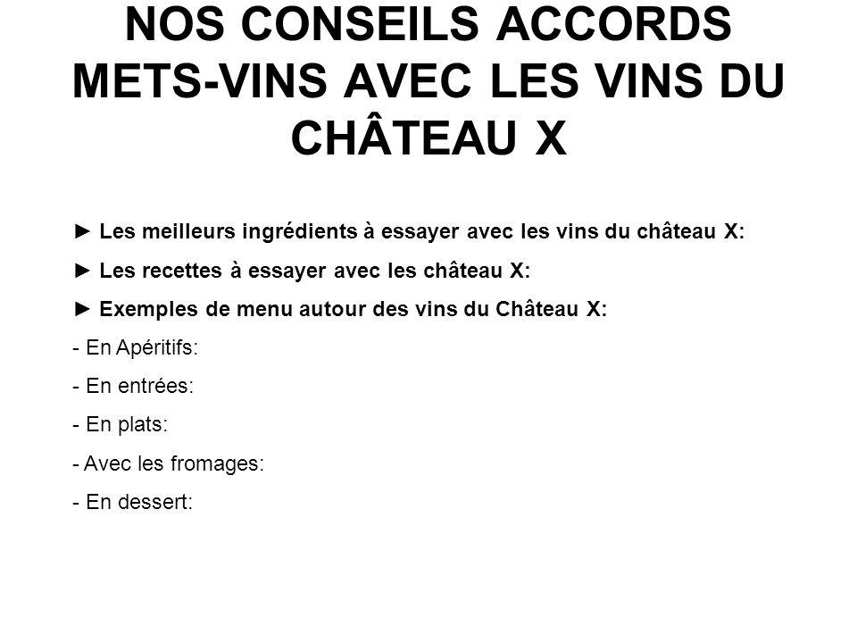 NOS CONSEILS ACCORDS METS-VINS AVEC LES VINS DU CHÂTEAU X Les meilleurs ingrédients à essayer avec les vins du château X: Les recettes à essayer avec les château X: Exemples de menu autour des vins du Château X: - En Apéritifs: - En entrées: - En plats: - Avec les fromages: - En dessert: