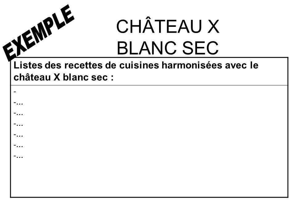 CHÂTEAU X BLANC SEC Listes des recettes de cuisines harmonisées avec le château X blanc sec : - -…-…-…-…-…-…- -…-…-…-…-…-…
