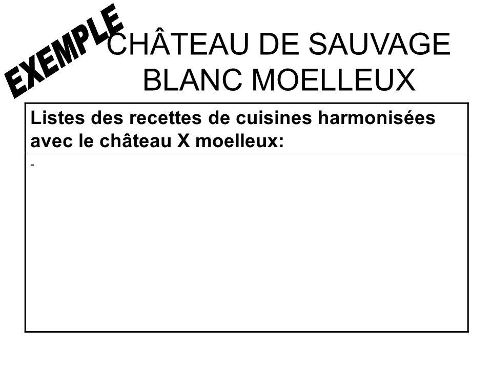 CHÂTEAU DE SAUVAGE BLANC MOELLEUX Listes des recettes de cuisines harmonisées avec le château X moelleux: -