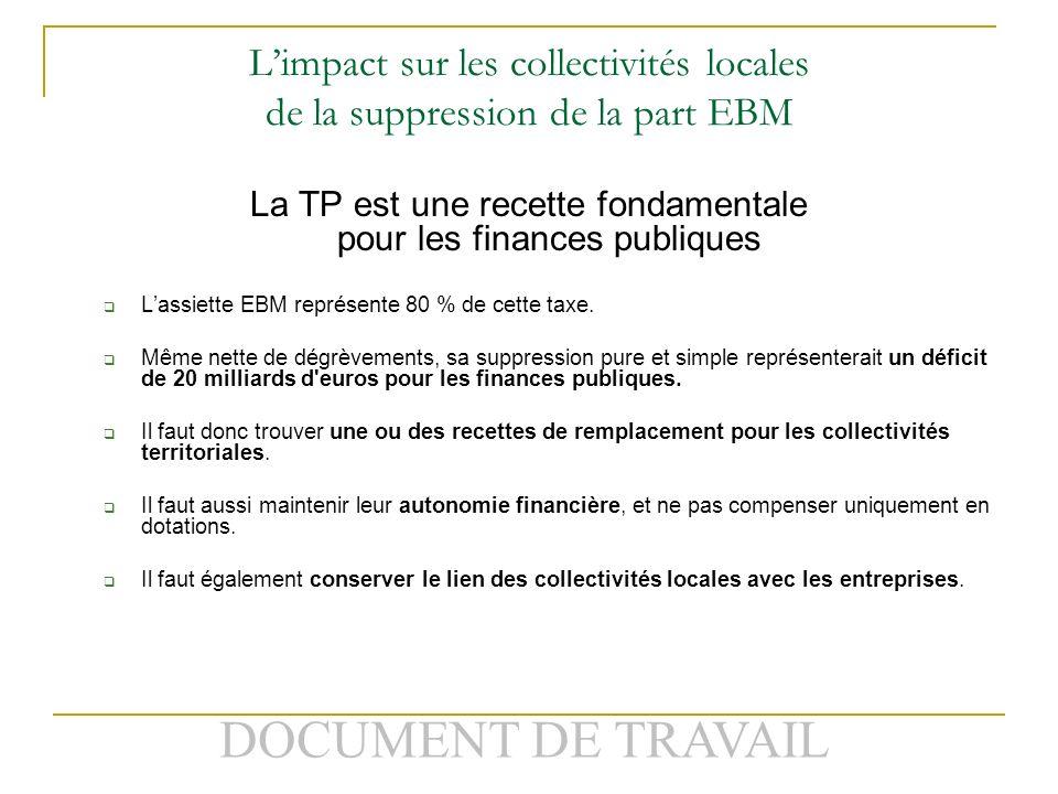 DOCUMENT DE TRAVAIL Limpact sur les collectivités locales de la suppression de la part EBM La TP est une recette fondamentale pour les finances publiques Lassiette EBM représente 80 % de cette taxe.