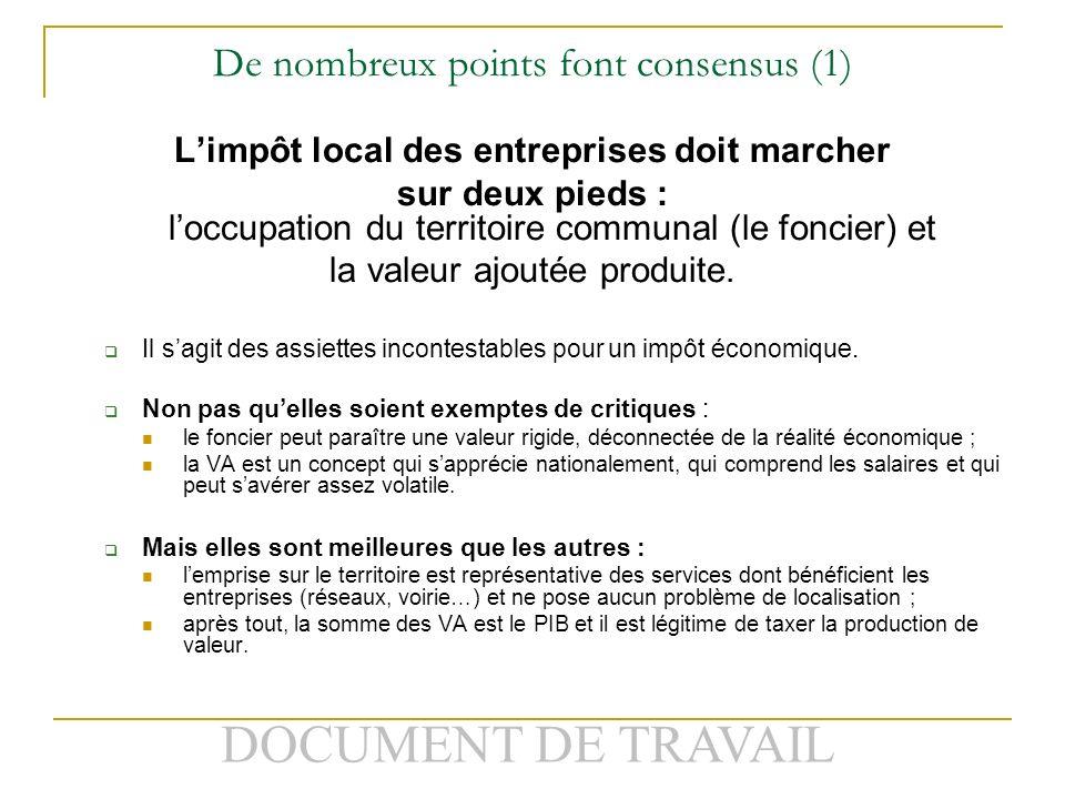 DOCUMENT DE TRAVAIL De nombreux points font consensus (1) Limpôt local des entreprises doit marcher sur deux pieds : loccupation du territoire communal (le foncier) et la valeur ajoutée produite.