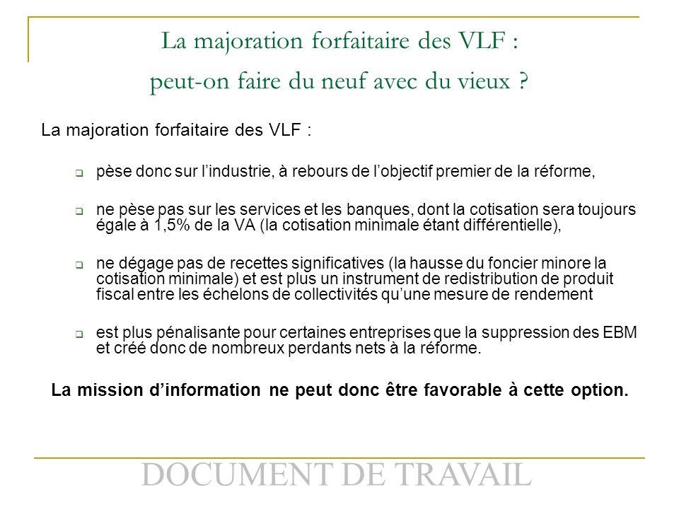 DOCUMENT DE TRAVAIL La majoration forfaitaire des VLF : peut-on faire du neuf avec du vieux .