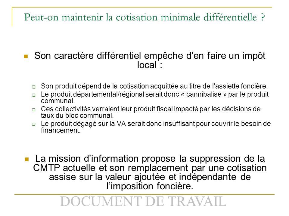 DOCUMENT DE TRAVAIL Peut-on maintenir la cotisation minimale différentielle .