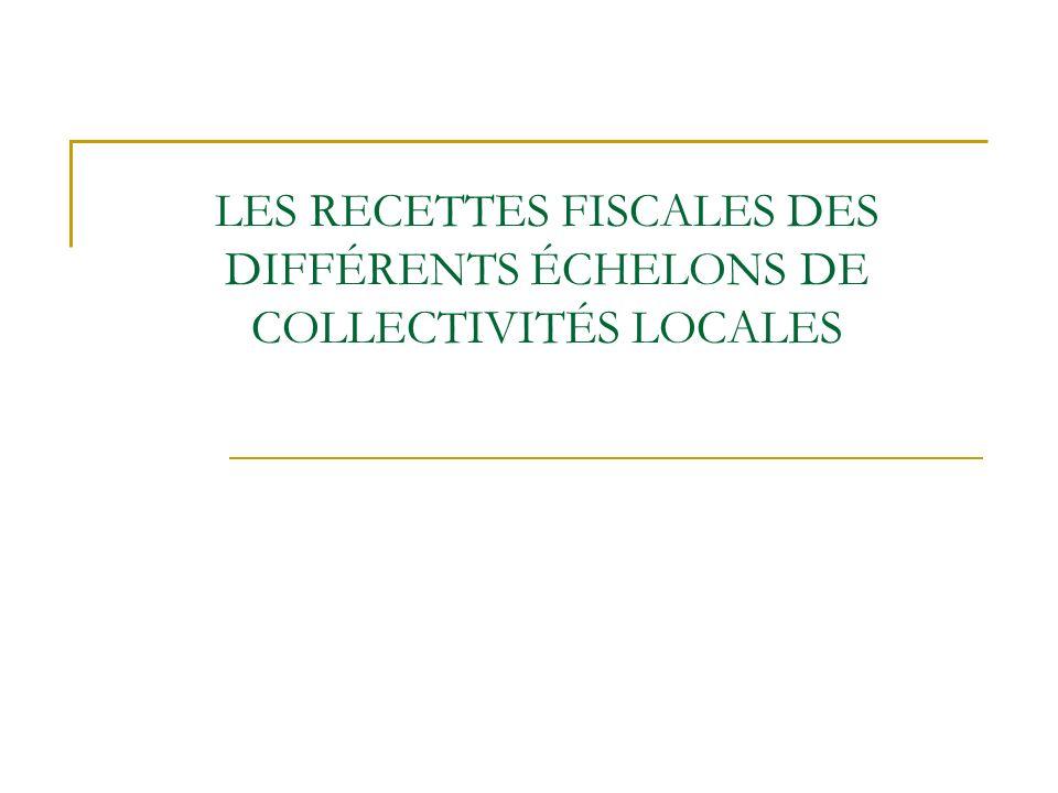 LES RECETTES FISCALES DES DIFFÉRENTS ÉCHELONS DE COLLECTIVITÉS LOCALES
