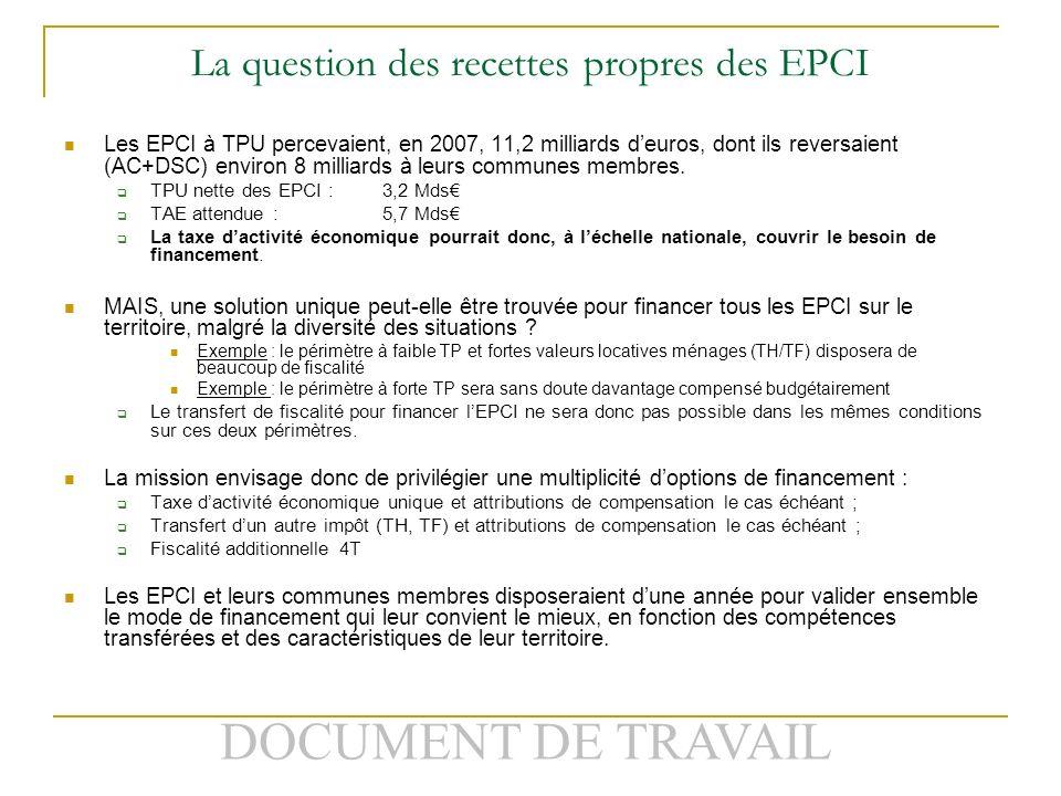 DOCUMENT DE TRAVAIL La question des recettes propres des EPCI Les EPCI à TPU percevaient, en 2007, 11,2 milliards deuros, dont ils reversaient (AC+DSC) environ 8 milliards à leurs communes membres.