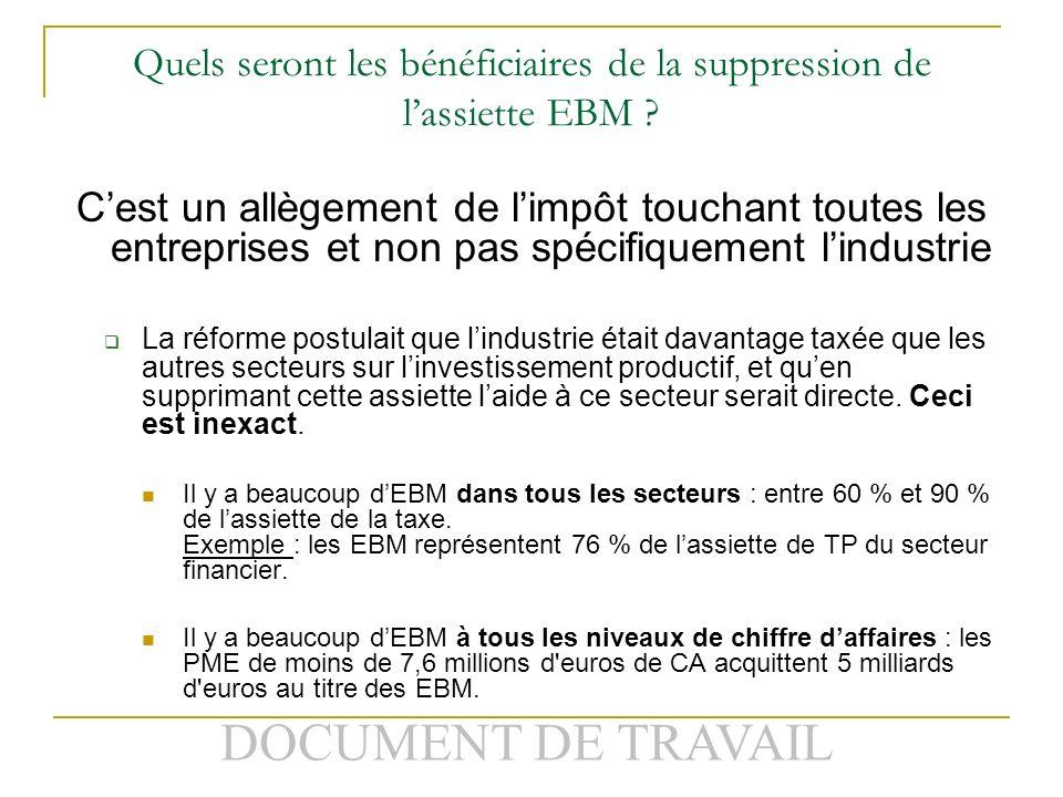 DOCUMENT DE TRAVAIL Quels seront les bénéficiaires de la suppression de lassiette EBM .