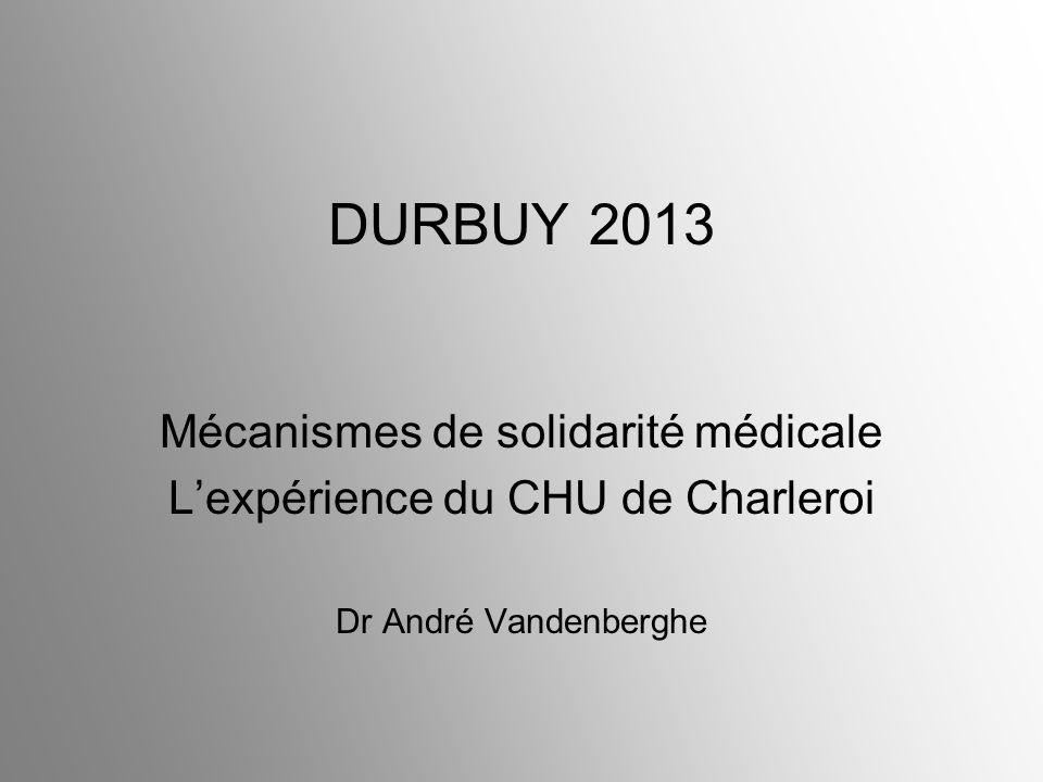 DURBUY 2013 Mécanismes de solidarité médicale Lexpérience du CHU de Charleroi Dr André Vandenberghe