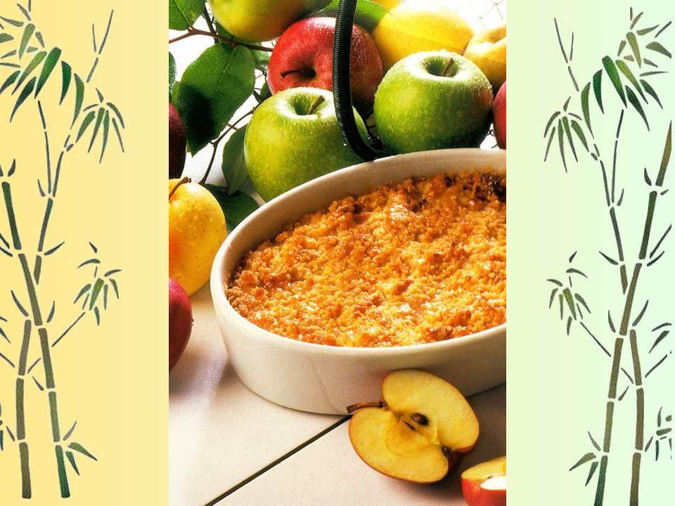 Gratin de pommes Pour 6 personnes : 130 g de farine, 150 g de beurre, 150 g de sucre, 100 g de poudre damandes, 1 cuillère à café de cannelle, 1 kg de
