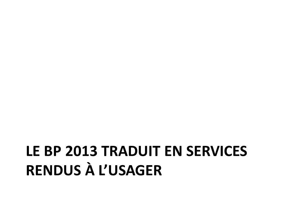 LE BP 2013 TRADUIT EN SERVICES RENDUS À LUSAGER