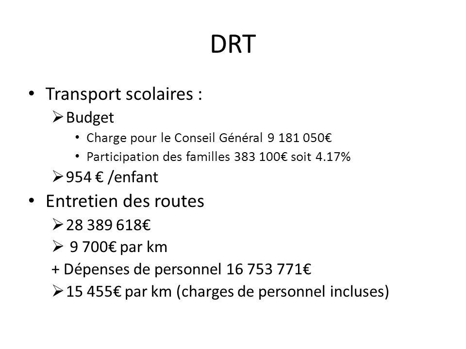 DRT Transport scolaires : Budget Charge pour le Conseil Général 9 181 050 Participation des familles 383 100 soit 4.17% 954 /enfant Entretien des rout