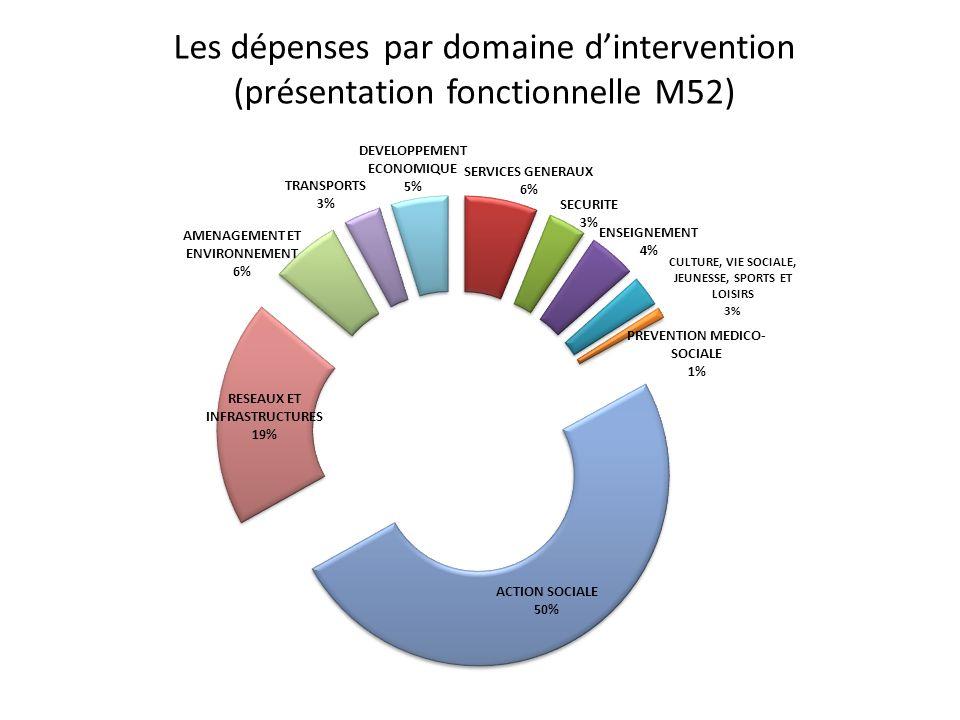 Les dépenses par domaine dintervention (présentation fonctionnelle M52)