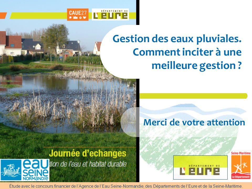 AESN Nanterre 28-04-2009 Gestion des eaux pluviales. Comment inciter à une meilleure gestion ? Merci de votre attention Étude avec le concours financi