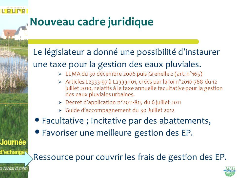 Nouveau cadre juridique Le législateur a donné une possibilité dinstaurer une taxe pour la gestion des eaux pluviales. LEMA du 30 décembre 2006 puis G