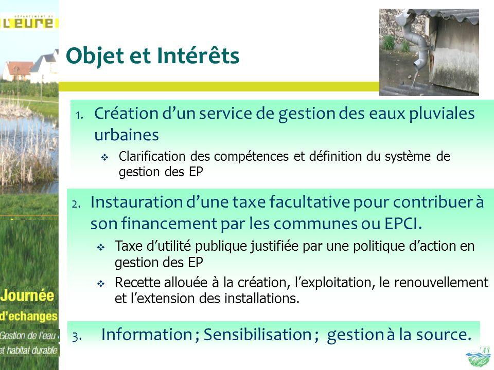 Objet et Intérêts 3. Information ; Sensibilisation ; gestion à la source. 1. Création dun service de gestion des eaux pluviales urbaines Clarification