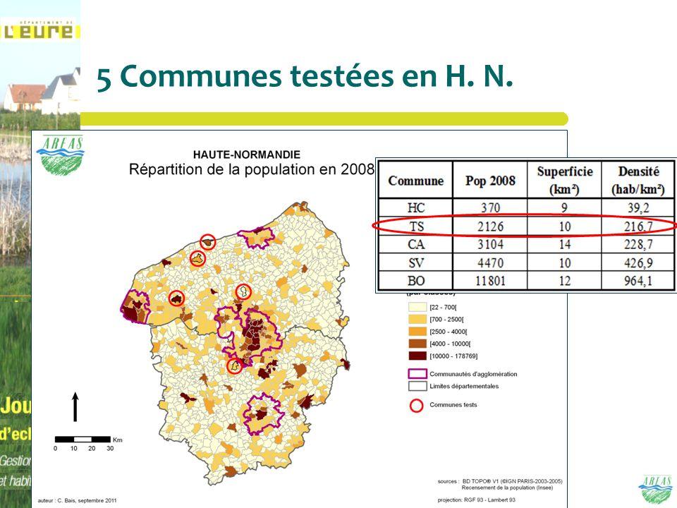 5 Communes testées en H. N.