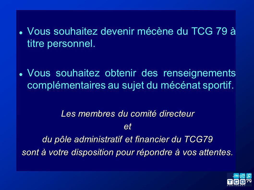 Vous souhaitez devenir mécène du TCG 79 à titre personnel. Vous souhaitez obtenir des renseignements complémentaires au sujet du mécénat sportif. Les