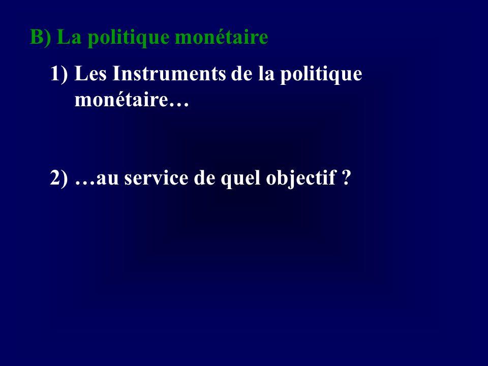 B) La politique monétaire 1)Les Instruments de la politique monétaire… 2)…au service de quel objectif ?