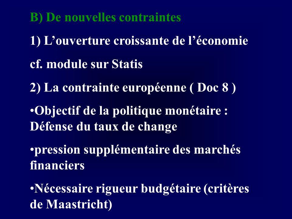 B) De nouvelles contraintes 1) Louverture croissante de léconomie cf. module sur Statis 2) La contrainte européenne ( Doc 8 ) Objectif de la politique