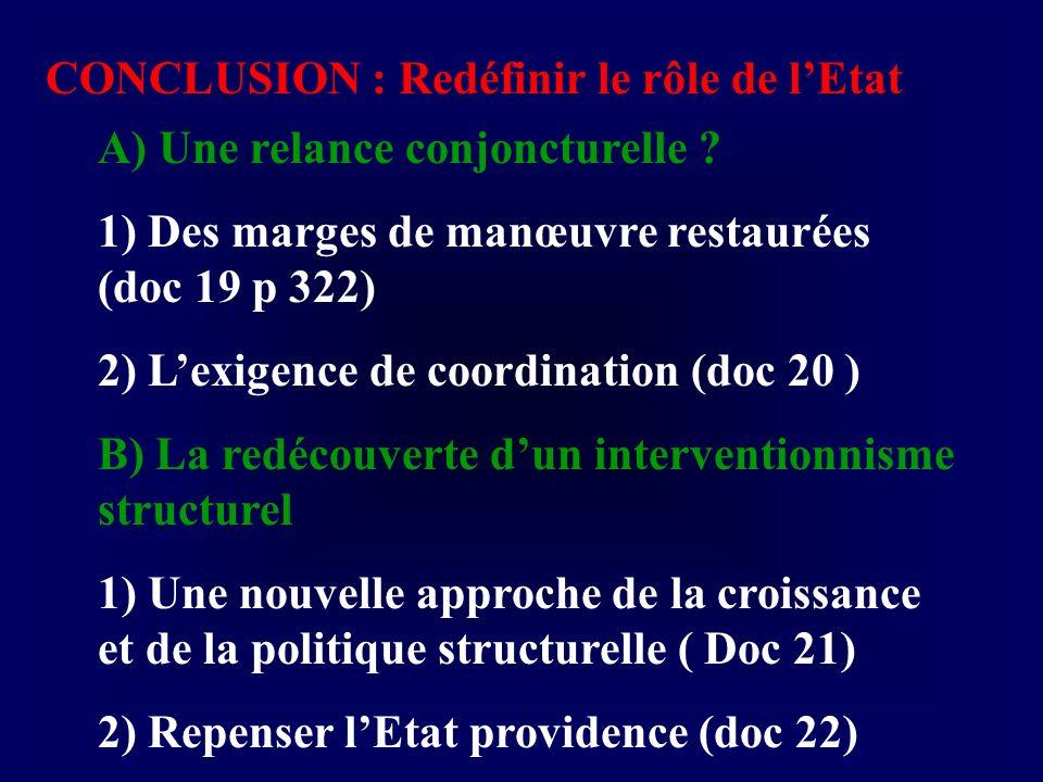 CONCLUSION : Redéfinir le rôle de lEtat A) Une relance conjoncturelle ? 1) Des marges de manœuvre restaurées (doc 19 p 322) 2) Lexigence de coordinati