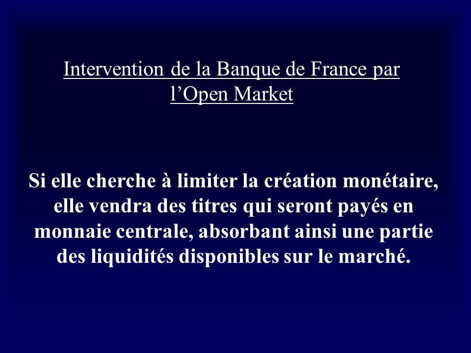 Intervention de la Banque de France par lOpen Market Si elle cherche à limiter la création monétaire, elle vendra des titres qui seront payés en monna