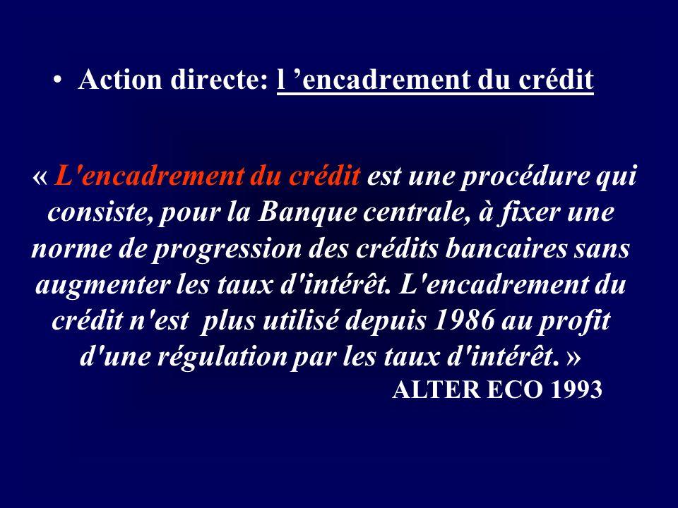 Action directe: l encadrement du créditl encadrement du crédit « L'encadrement du crédit est une procédure qui consiste, pour la Banque centrale, à fi