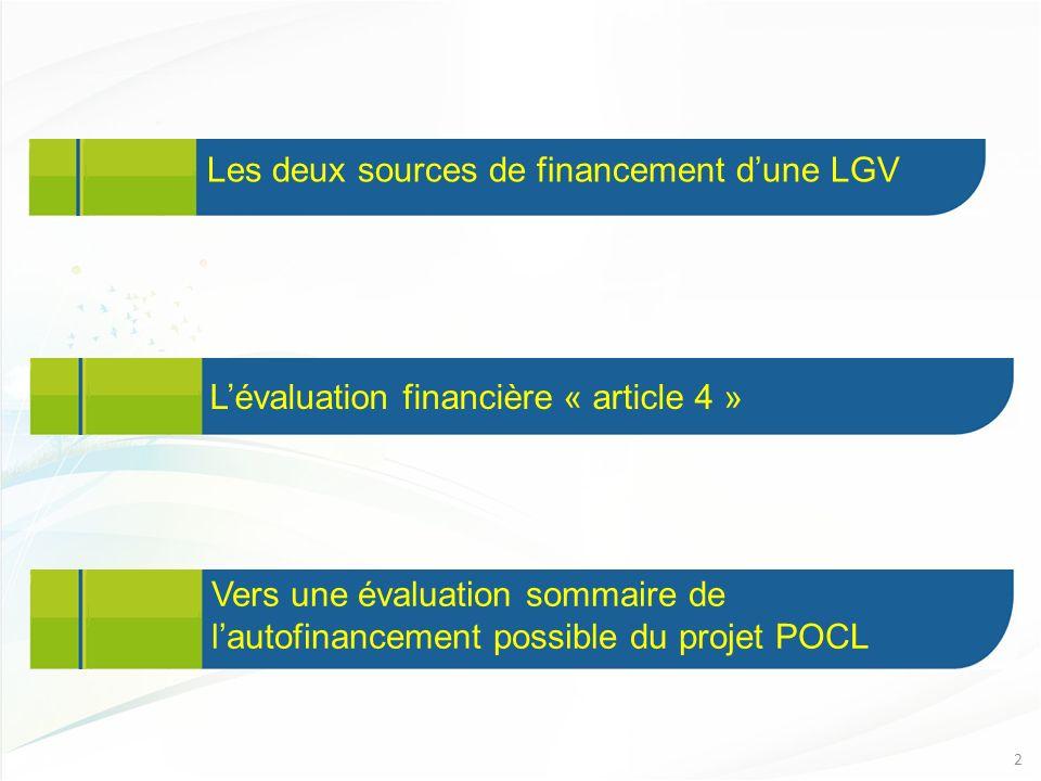 Les deux sources de financement dune LGV 2 Lévaluation financière « article 4 » Vers une évaluation sommaire de lautofinancement possible du projet POCL