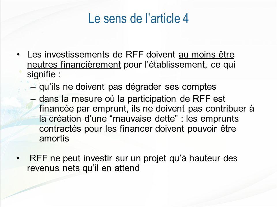 Le sens de larticle 4 Les investissements de RFF doivent au moins être neutres financièrement pour létablissement, ce qui signifie : –quils ne doivent pas dégrader ses comptes –dans la mesure où la participation de RFF est financée par emprunt, ils ne doivent pas contribuer à la création dune mauvaise dette : les emprunts contractés pour les financer doivent pouvoir être amortis RFF ne peut investir sur un projet quà hauteur des revenus nets quil en attend