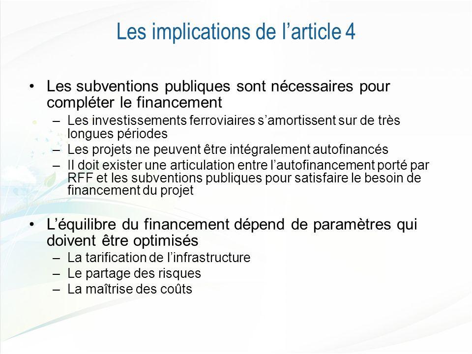 Les implications de larticle 4 Les subventions publiques sont nécessaires pour compléter le financement –Les investissements ferroviaires samortissent