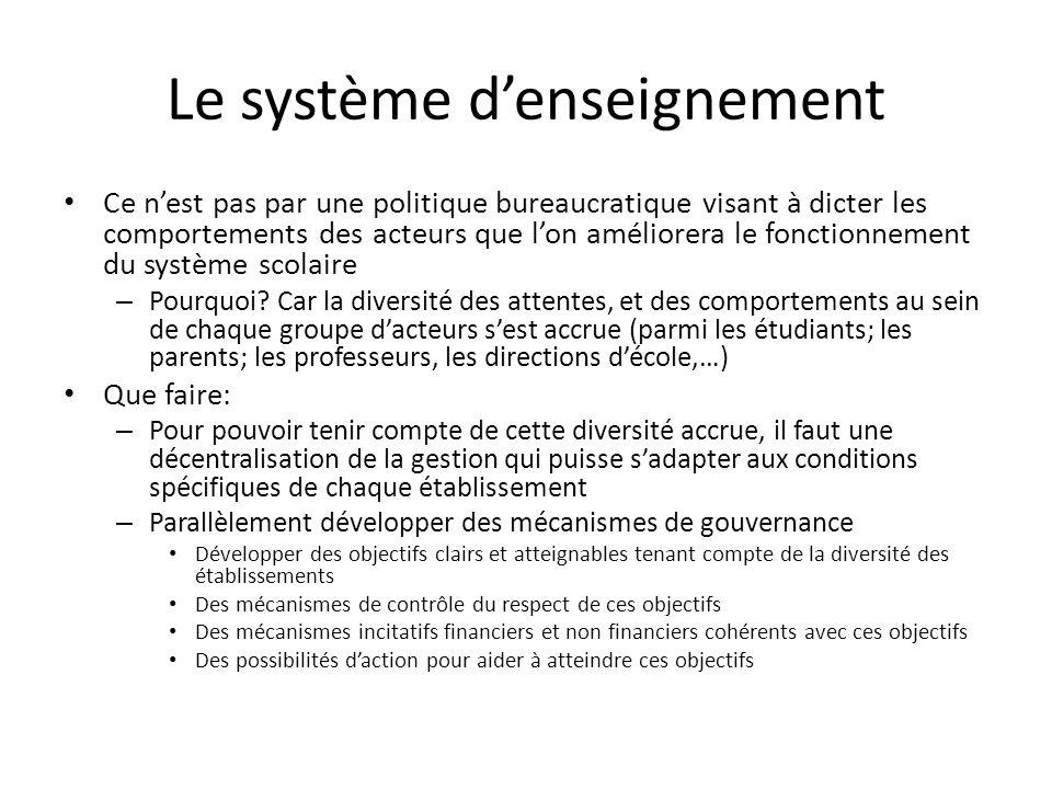 Le système denseignement Ce nest pas par une politique bureaucratique visant à dicter les comportements des acteurs que lon améliorera le fonctionnement du système scolaire – Pourquoi.