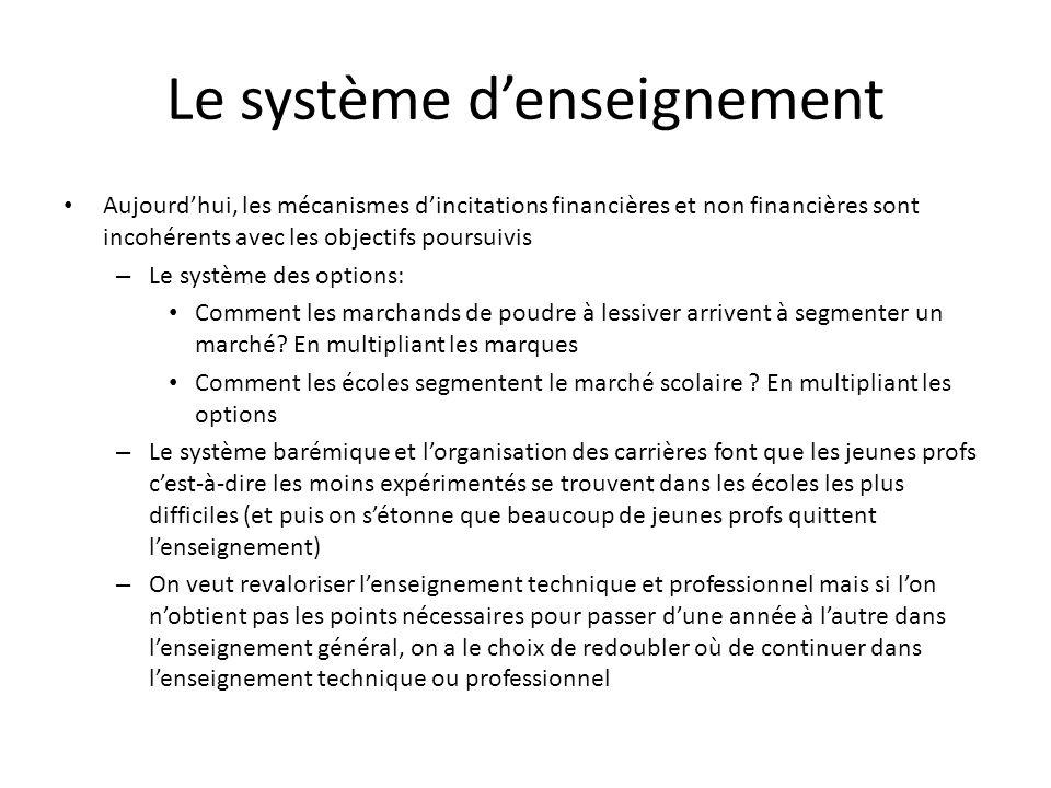Le système denseignement Aujourdhui, les mécanismes dincitations financières et non financières sont incohérents avec les objectifs poursuivis – Le système des options: Comment les marchands de poudre à lessiver arrivent à segmenter un marché.