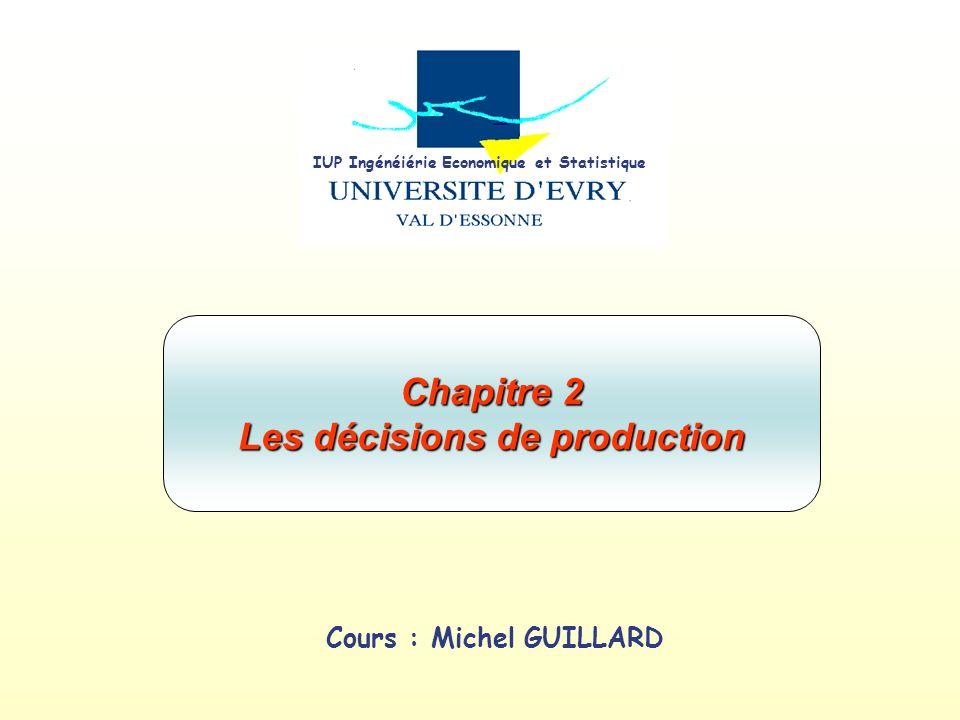 Cours : Michel GUILLARD Chapitre 2 Les décisions de production IUP Ingénéiérie Economique et Statistique