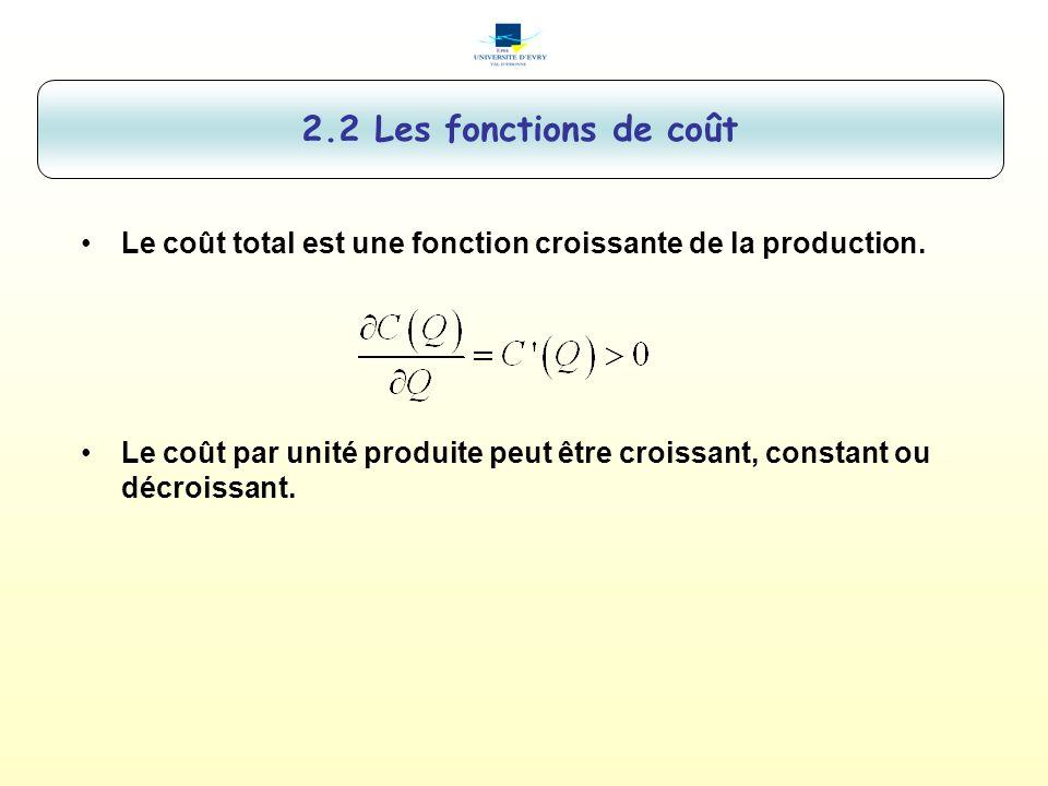 Le coût total est une fonction croissante de la production. Le coût par unité produite peut être croissant, constant ou décroissant. 2.2 Les fonctions