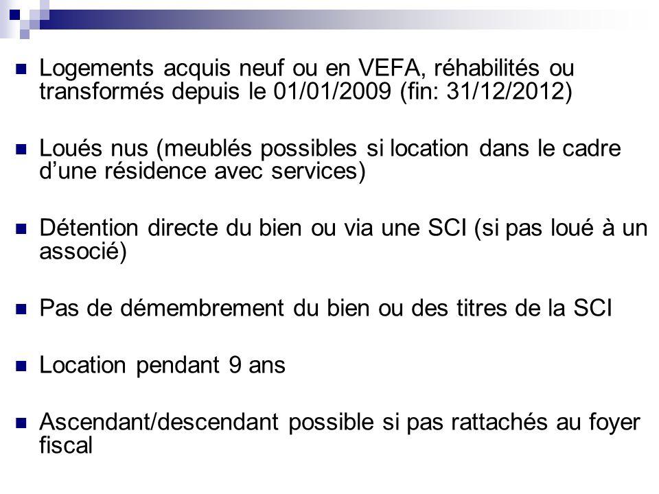Logements acquis neuf ou en VEFA, réhabilités ou transformés depuis le 01/01/2009 (fin: 31/12/2012) Loués nus (meublés possibles si location dans le c
