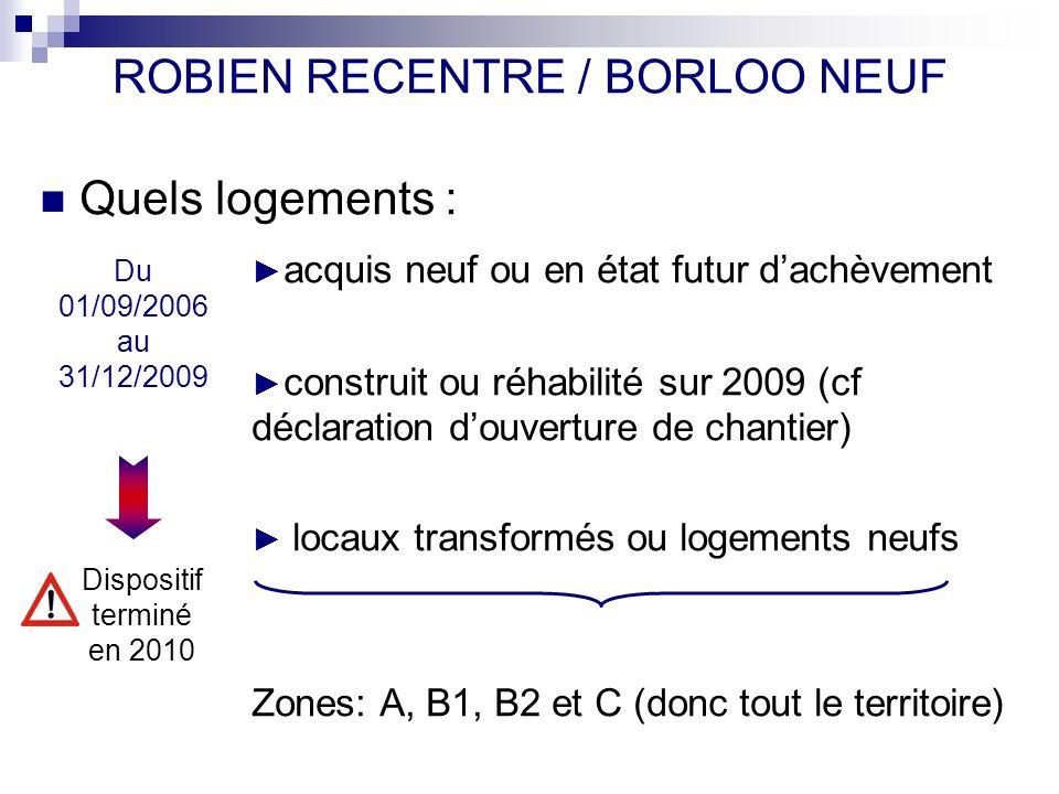 ROBIEN RECENTRE / BORLOO NEUF Quels logements : acquis neuf ou en état futur dachèvement construit ou réhabilité sur 2009 (cf déclaration douverture d