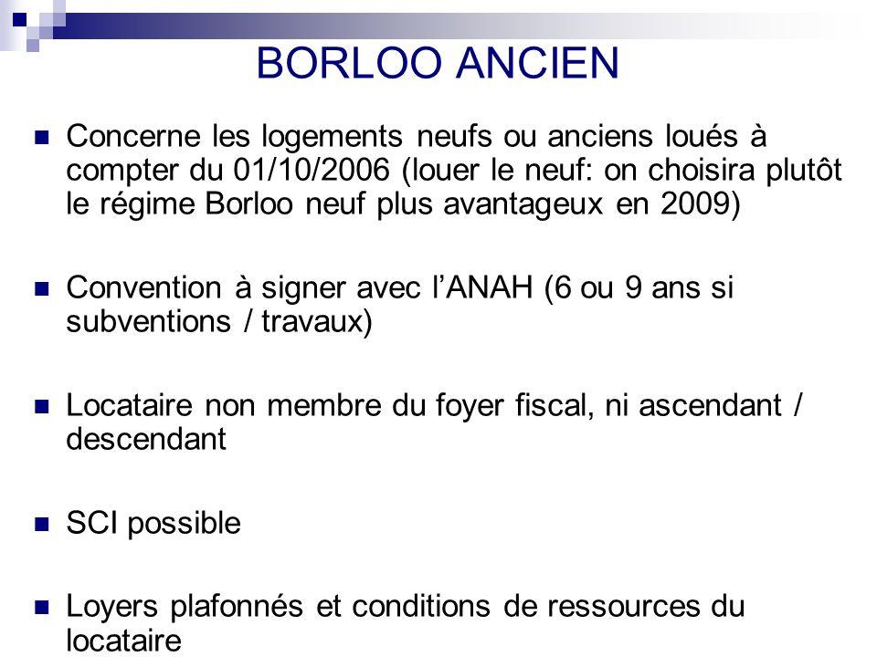 BORLOO ANCIEN Concerne les logements neufs ou anciens loués à compter du 01/10/2006 (louer le neuf: on choisira plutôt le régime Borloo neuf plus avan