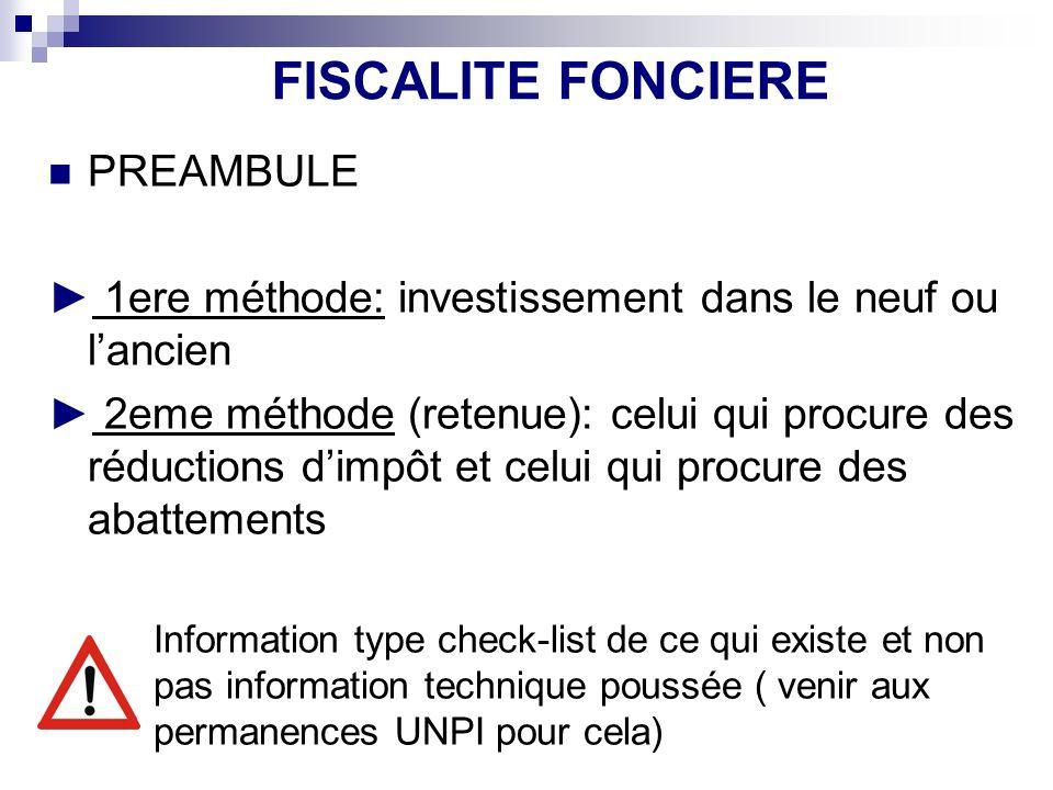 FISCALITE FONCIERE PREAMBULE 1ere méthode: investissement dans le neuf ou lancien 2eme méthode (retenue): celui qui procure des réductions dimpôt et c