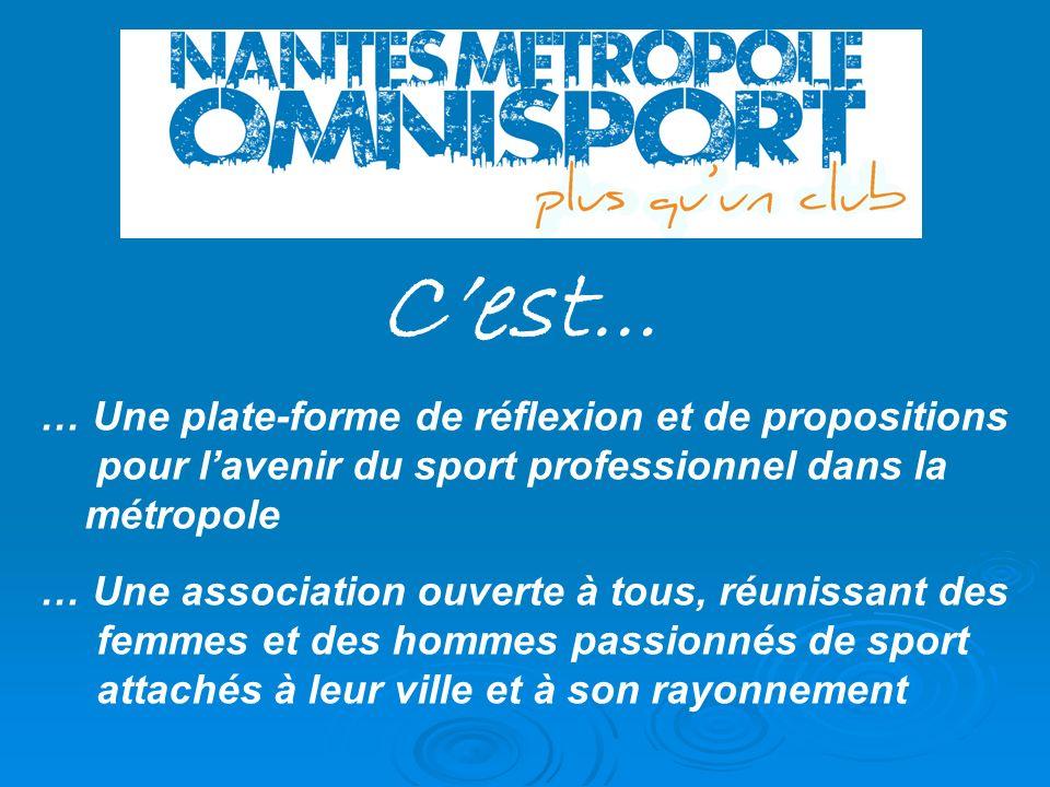 Cest … … Une plate-forme de réflexion et de propositions pour lavenir du sport professionnel dans la métropole … Une association ouverte à tous, réuni