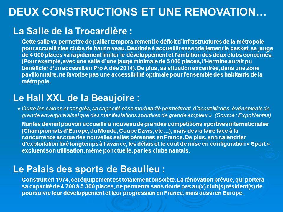 DEUX CONSTRUCTIONS ET UNE RENOVATION… La Salle de la Trocardière : Cette salle va permettre de pallier temporairement le déficit dinfrastructures de l